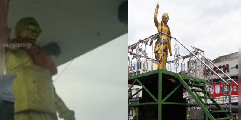 Saffron-cloth-Covered-MGR-Statue-in-Puducherry