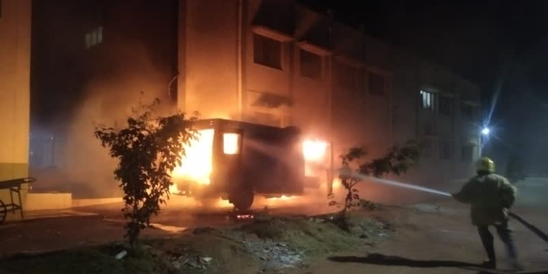 An-ambulance-carrying-a-corona-patient-caught-fire-in-Tenkasi