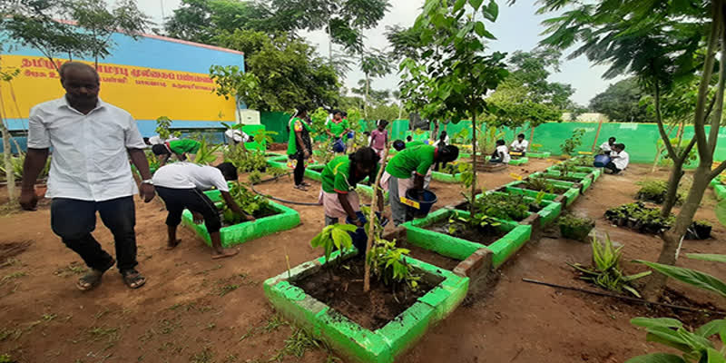 Government-school-students-setting-up-and-maintaining-an-herb-garden-during-the-holidays