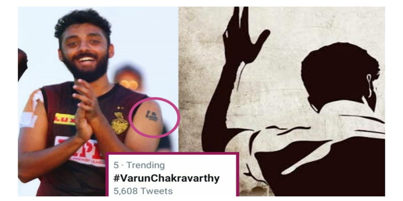 ACTOR-VIJAY-S-Tattoo-on-the-hand-of-IPL-TEAM-Kolkata-KNIGHTRIDERS-bowler-Varun-ChakraVARTHY-BECAME-VIRAL